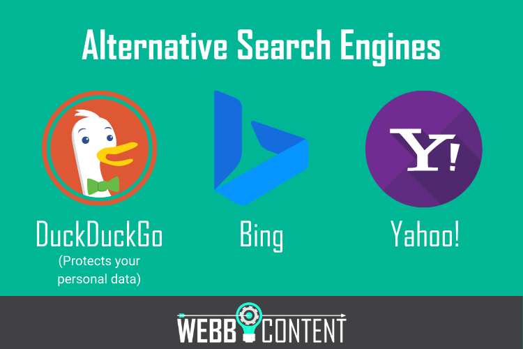 3 English-language search engines including DuckDuckGo, Bing, and Yahoo!
