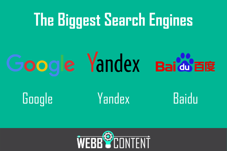 Logos of the 3 biggest international search engines, including Google, Yandex, and Baidu.