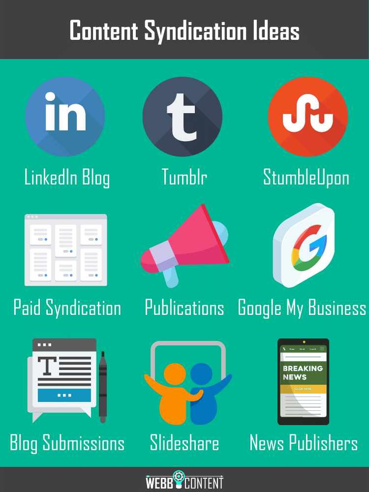 Nine content syndication ideas that include LinkedIn, Tumblr, StumbleUpon, paid syndication (e.g. Taboola or Outbrain), news publications, blog submission sites, Slideshare, and industry news publishers.