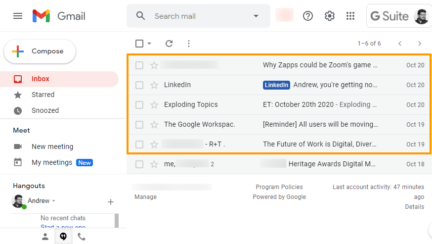 An email inbox with 5 marketing emails highlighted compared to 1 personal email.