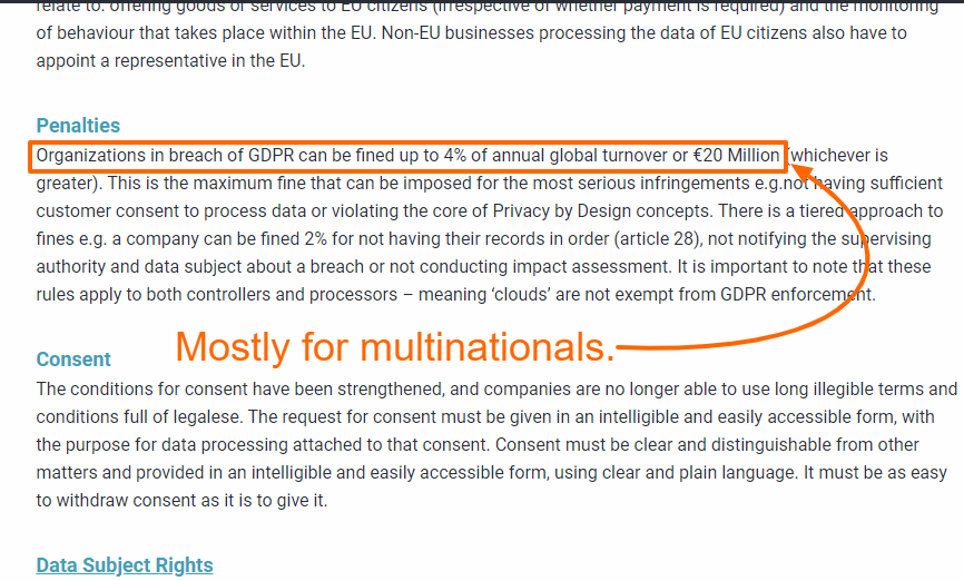 "GDPR legal interpretation highlighting the first sentence under the Penalties section: ""Organizations in breach of GDPR can be fined up to 4% of annual global turnover or €20 Million..."""