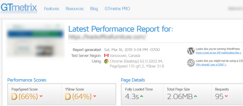 Screenshot of a site speed report from GTmetrix, a free SEO tool to capture speed metrics.