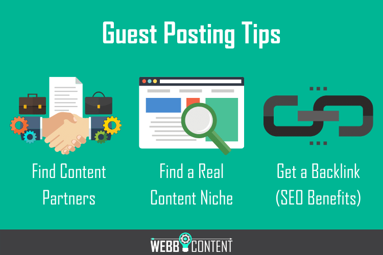 Three guest posting tips for successful blog content distribution.