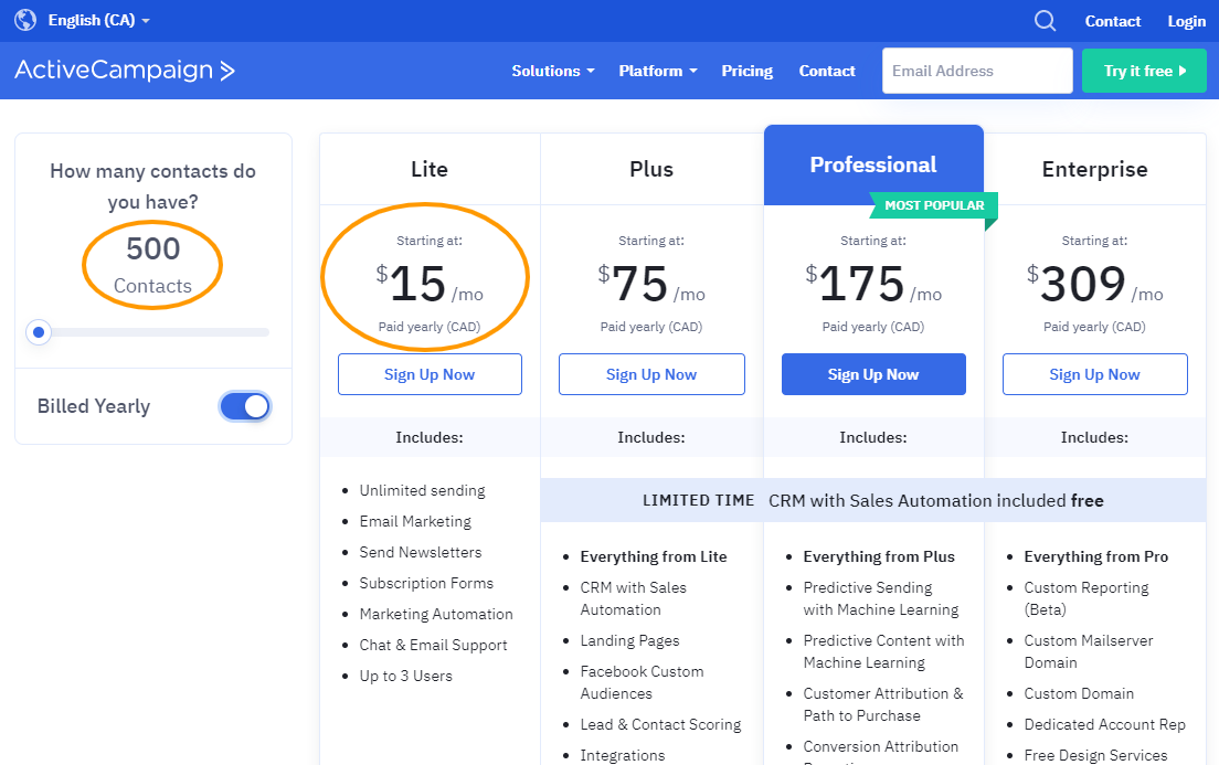 The pricing table for ActiveCampaign, email marketing software with a high ROI.