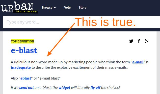 "Screenshot of an Urban Dictionary definition of ""email blast."" It's not flattering."