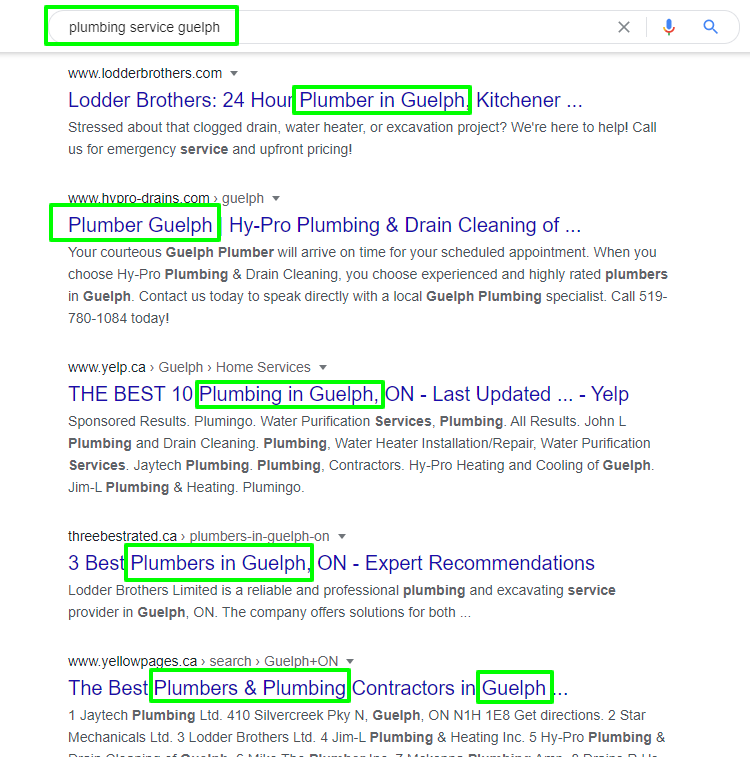 Organic keywords highlighted in a screenshot of Google's search results.