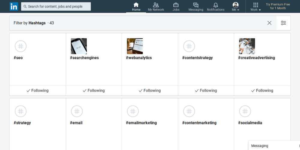 Hashtags to follow on Linkedin to research topics for the platform's content marketing strategy, all lined up in rows of 5 boxes.