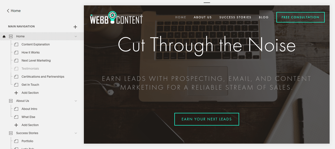 A page menu showing how Squarespace stitches together page sections using URL fragments, which is unhealthy for a website's technical SEO.