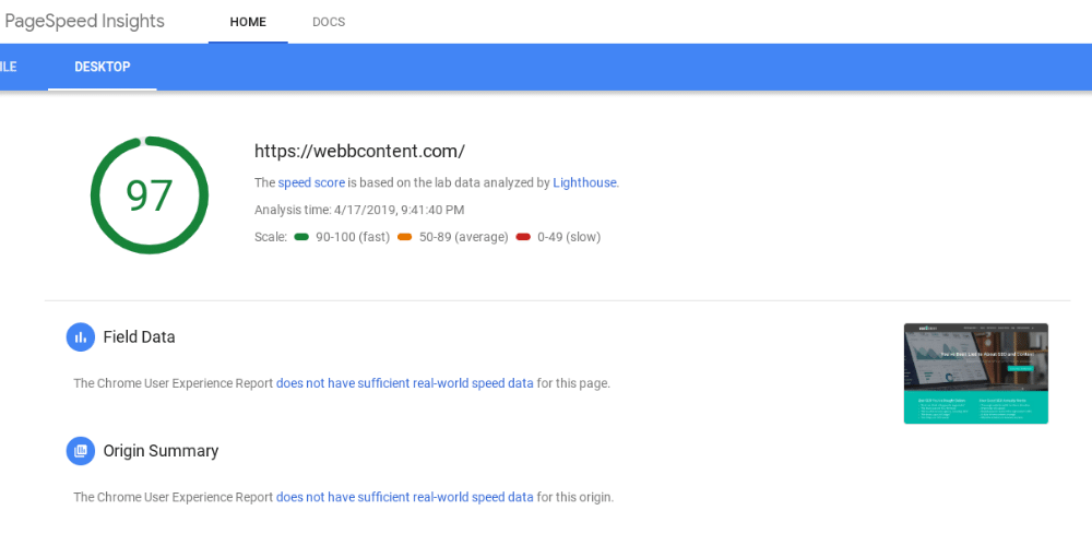 A test to fix website speed problems from Think With Google, awarding a score of 97% to Webb Content's desktop site.
