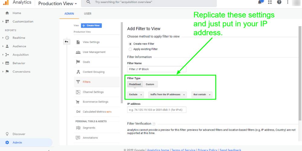 A screenshot of an IP address filter being created inside Google Analytics.