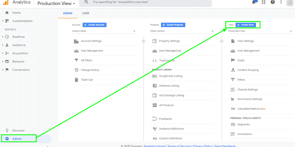 "A screenshot of Google Analytics' Admin screen with a green arrow pointing from the Admin button to the ""Create View"" button under the View column."