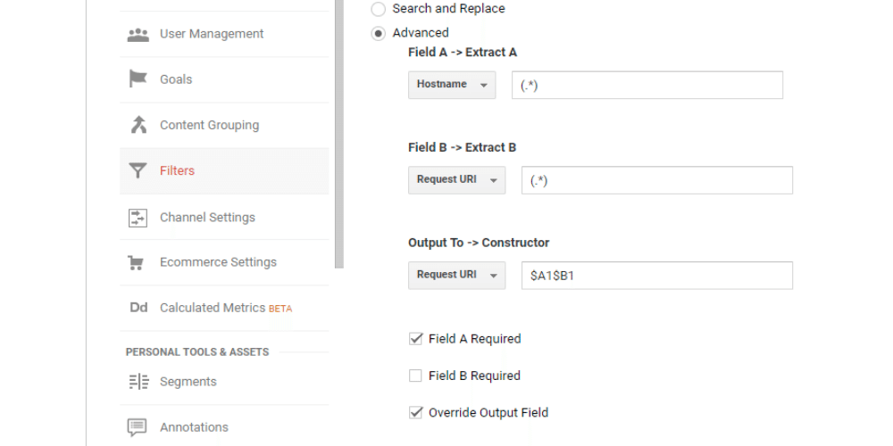 A screenshot showing how to create a custom filter to prepend the domain hostname to the URI of pages tracked in Google Analytics.