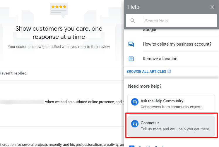 Customer support escalation for spam reviews in Google My Business.