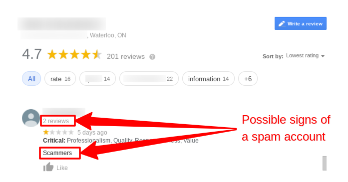 Example of a possible spam Google review with only 2 total reviews, an accusation, and a lack of facts.