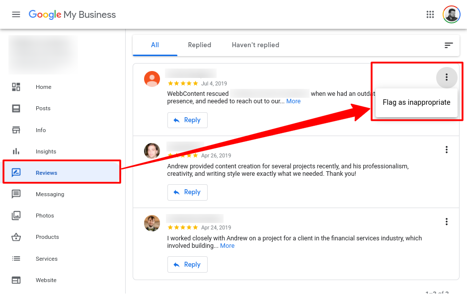 Review flagged inside the Google My Business user area.