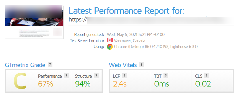 GTmetrix report with a 2.4 LCP score, 0ms TBT, and 0.02 CLS.