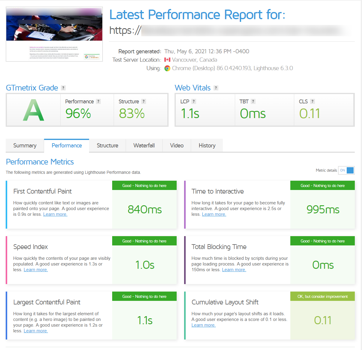 A complete report from GTmetrix showing an A grade on speed and performance on a website built with Divi.