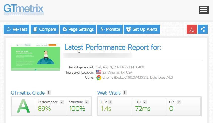 GTmetrix test for a Divi website with a perfect Core Web Vitals score.