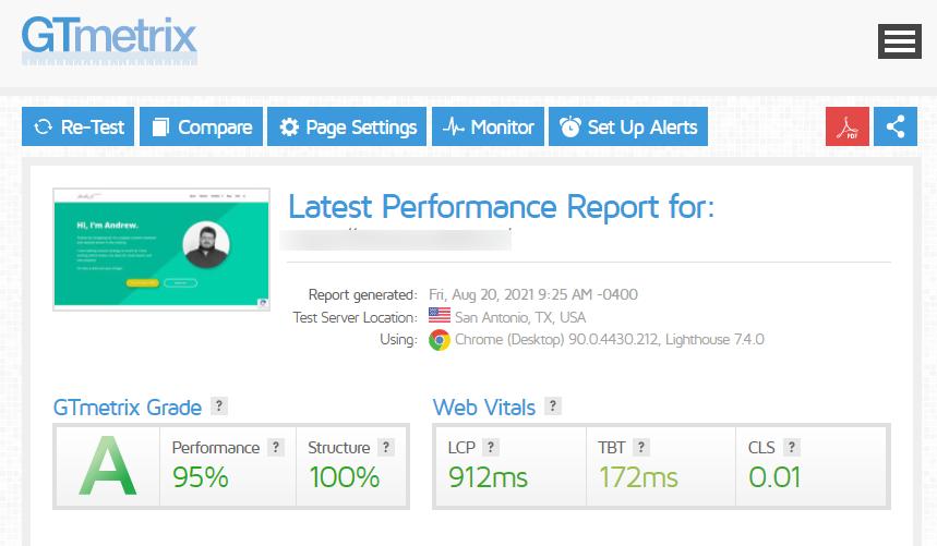 GTmetrix test for a Divi website with a near-perfect Core Web Vitals score.