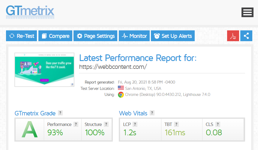 GTmetrix test for a Divi website with nearly a perfect Core Web Vitals score.