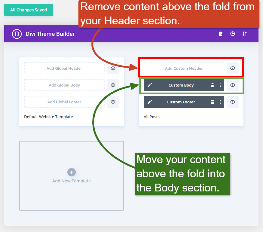 Screenshot of Divi's Theme Builder options in the WordPress back end, highlighting where to move content above the fold.
