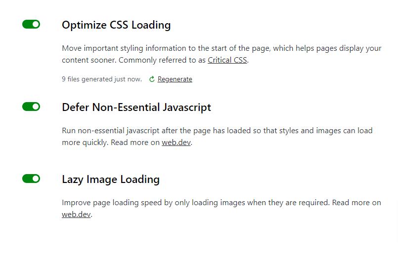 The settings screen in WordPress for the Jetpack Boost plugin.