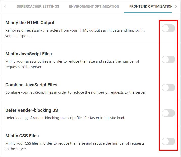 Screenshot of the SiteGround Optimizer WordPress plugin's Front-End Optimization options disabled.